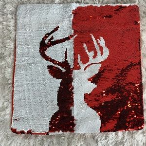 Reversible Sequin Pillow Cover Red White Reindeer